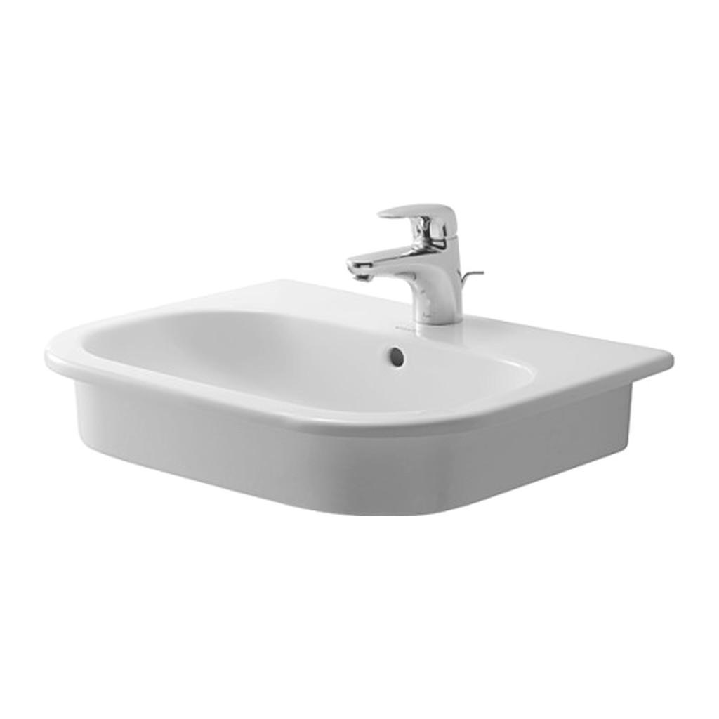 Duravit D-Code - Vstavané umývadlo, 1 otvor pre armatúru prepichnutý, 545 x 435 mm, biele 0337540000
