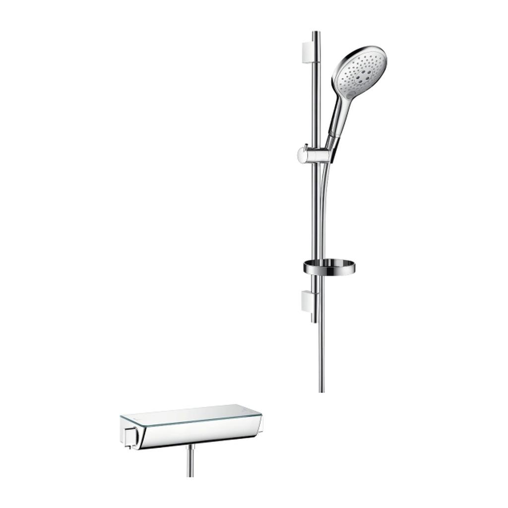 SELECT, TERMOSTATICKé BATéRIE NA STENU Hansgrohe Raindance Select S - termostatická batéria a sprchová súprava v kombinácii, biela-chróm 27036400