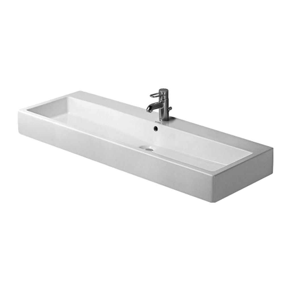 Duravit Vero - Umývadlo, 3 otvory pre armatúru prepichnuté, 120 x 47 cm, biele 0454120030