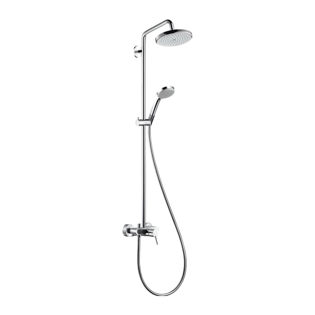 SHOWERPIPE A SPRCHOVÉ PANELY Hansgrohe Croma 220 - Showerpipe 220 mm, páková batéria, otočné sprchové rameno 400 mm, chróm 27222000