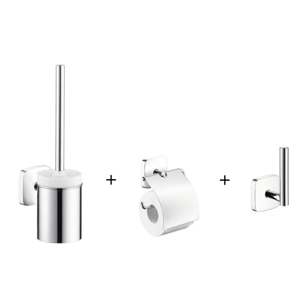 Hansgrohe PuraVida WC kefa + držiak toaletného papiera + držiak rezervného papiera