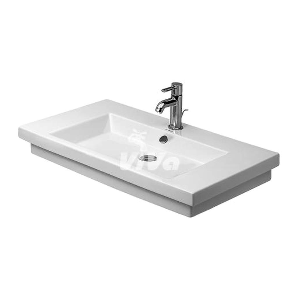 Duravit 2nd floor - Umývadlo, 3 otvory pre armatúru prepichnuté, 800 x 500 mm, biele 049180030