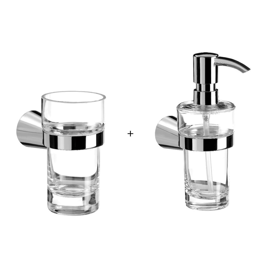 Emco Séria 3900 nástenný pohár na zubné kefky + dávkovač tekutého mydla