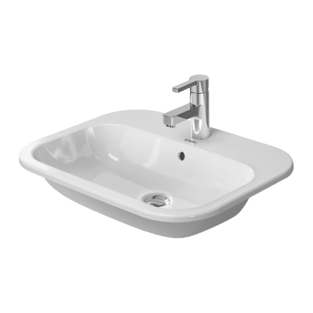Duravit Happy D.2 - Vstavané umývadlo, 3 otvory pre armatúru prepichnuté, 60 x 46 cm, biele 0483600030