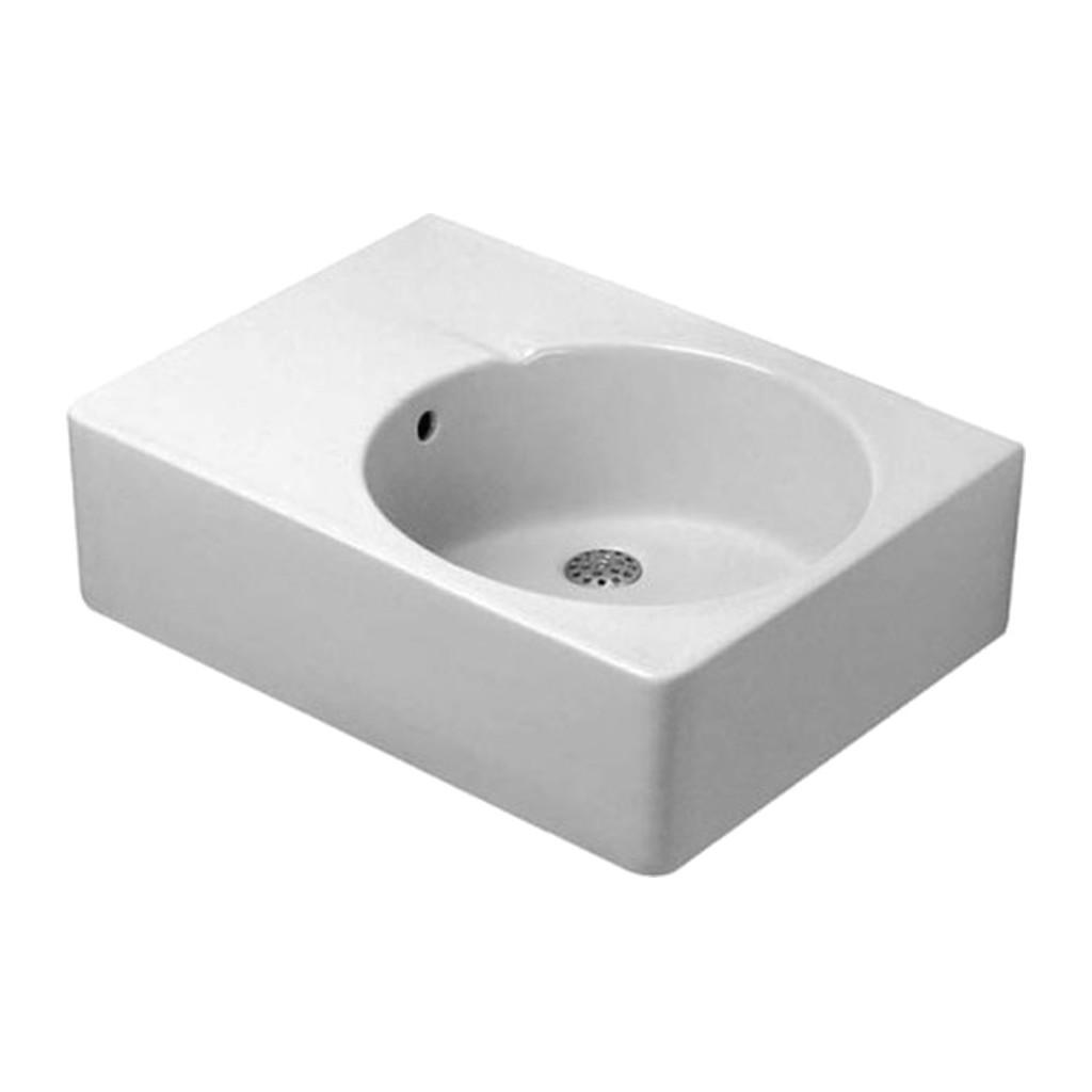 SCOLA Duravit Scola - Univerzálne umývadlo, umývacia plocha vpravo, 1 otvor pre armatúru prepichnutý, 615 x 460 mm, biele 0685600011