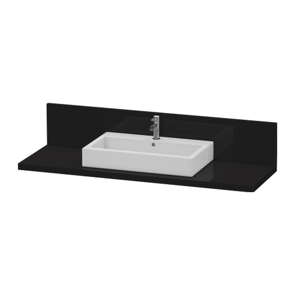 Duravit Delos - doska pod umývadlo so zástenou, 80x56 cm, farba: Čierna vysoký lesk, D DL 040C.40