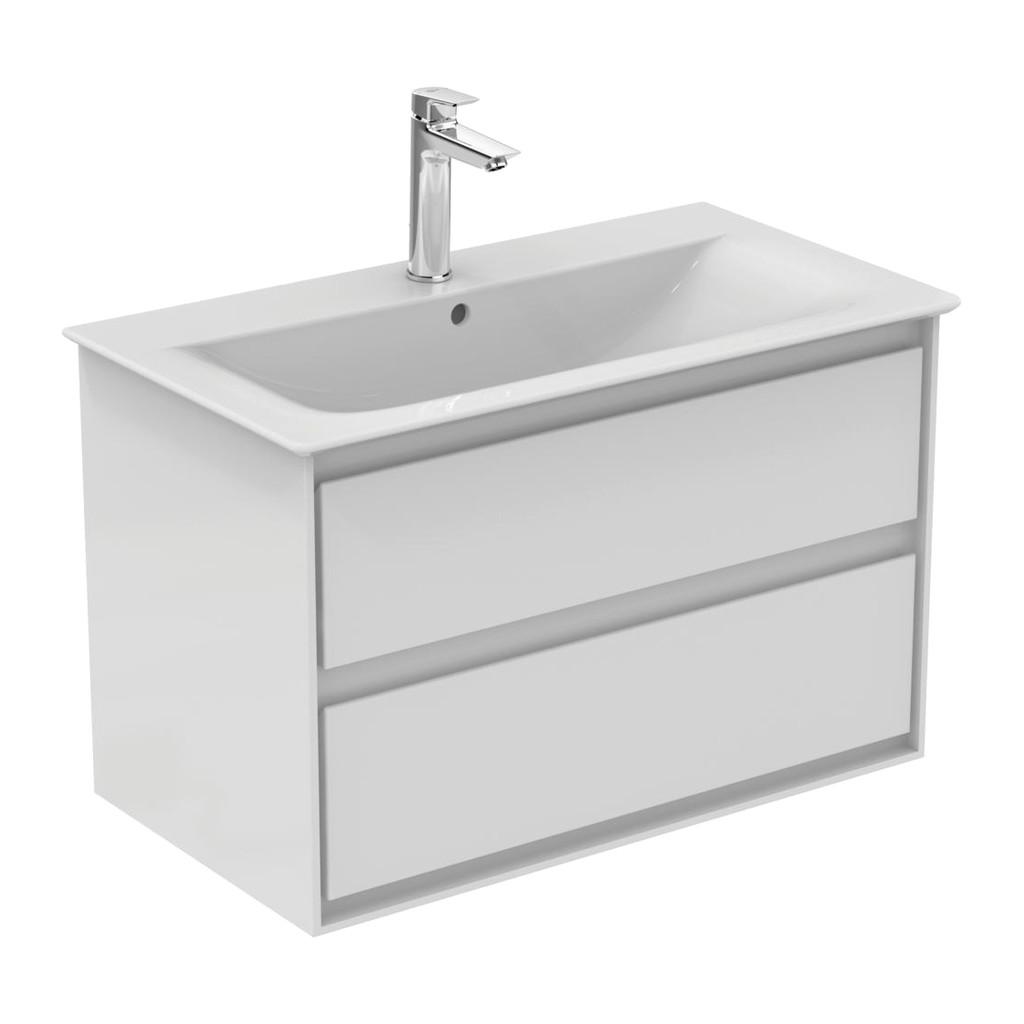 Ideal Standard Connect Air- Skrinka pod umývadlo 80cm, 2 zásuvky, Lesklý biely + matný biely lak E0819B2