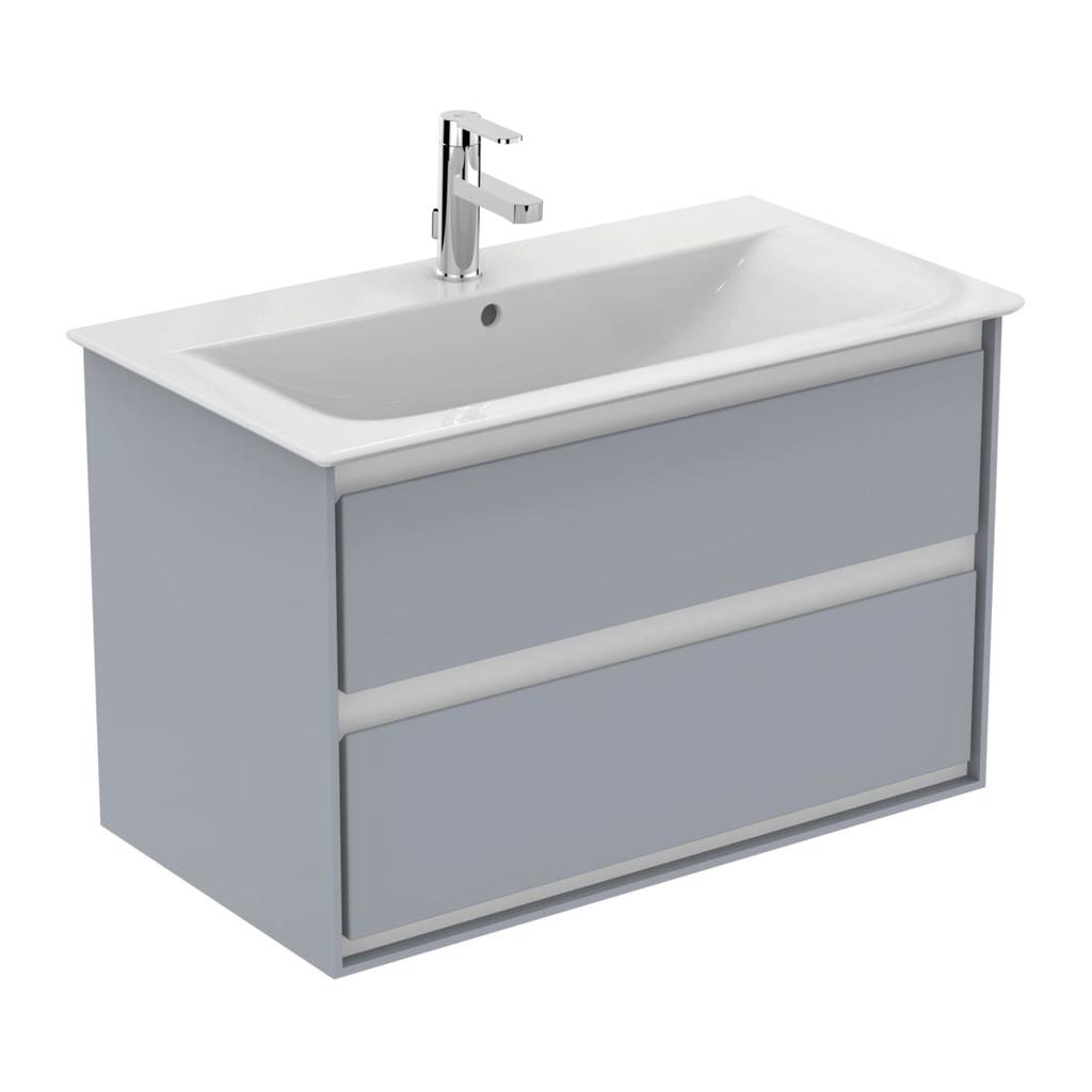 Ideal Standard Connect Air - Skrinka pod umývadlo 80 cm, 2 zásuvky, Lesklý svetlo šedý + matný biely lak E0819EQ