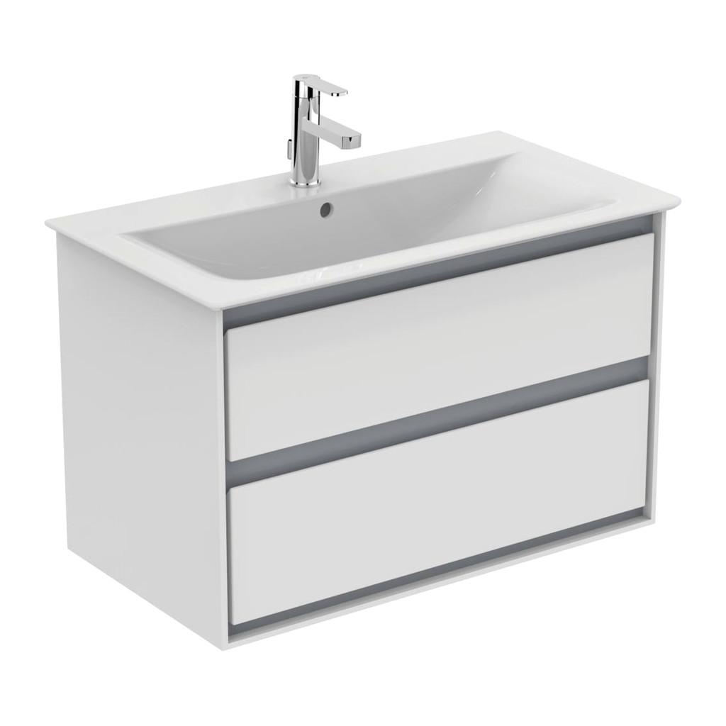 Ideal Standard Connect Air- Skrinka pod umývadlo 80cm, 2 zásuvky, Lesklý svetlo šedý + matný biely lak E0819KN