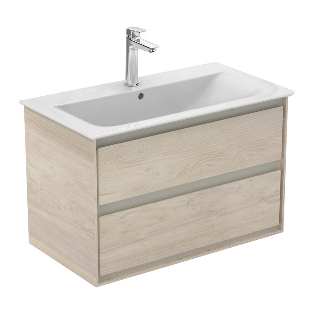 Ideal Standard Connect Air- Skrinka pod umývadlo 80cm, 2 zásuvky, Dekor svetlé drevo + matný hnedý lak E0819UK