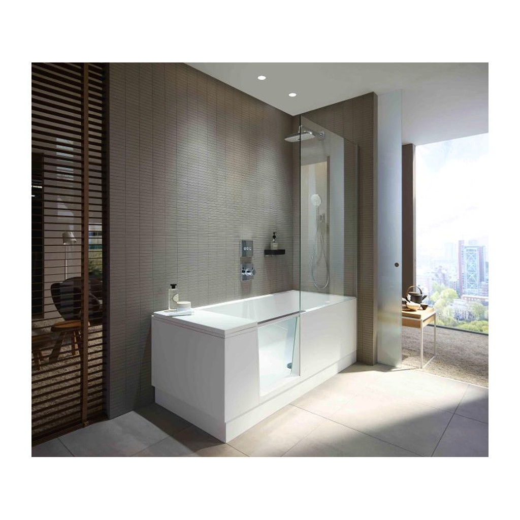 duravit shower bath va a so sprchov m k tom do av ho rohu s panelom a nohami 170x75 cm. Black Bedroom Furniture Sets. Home Design Ideas