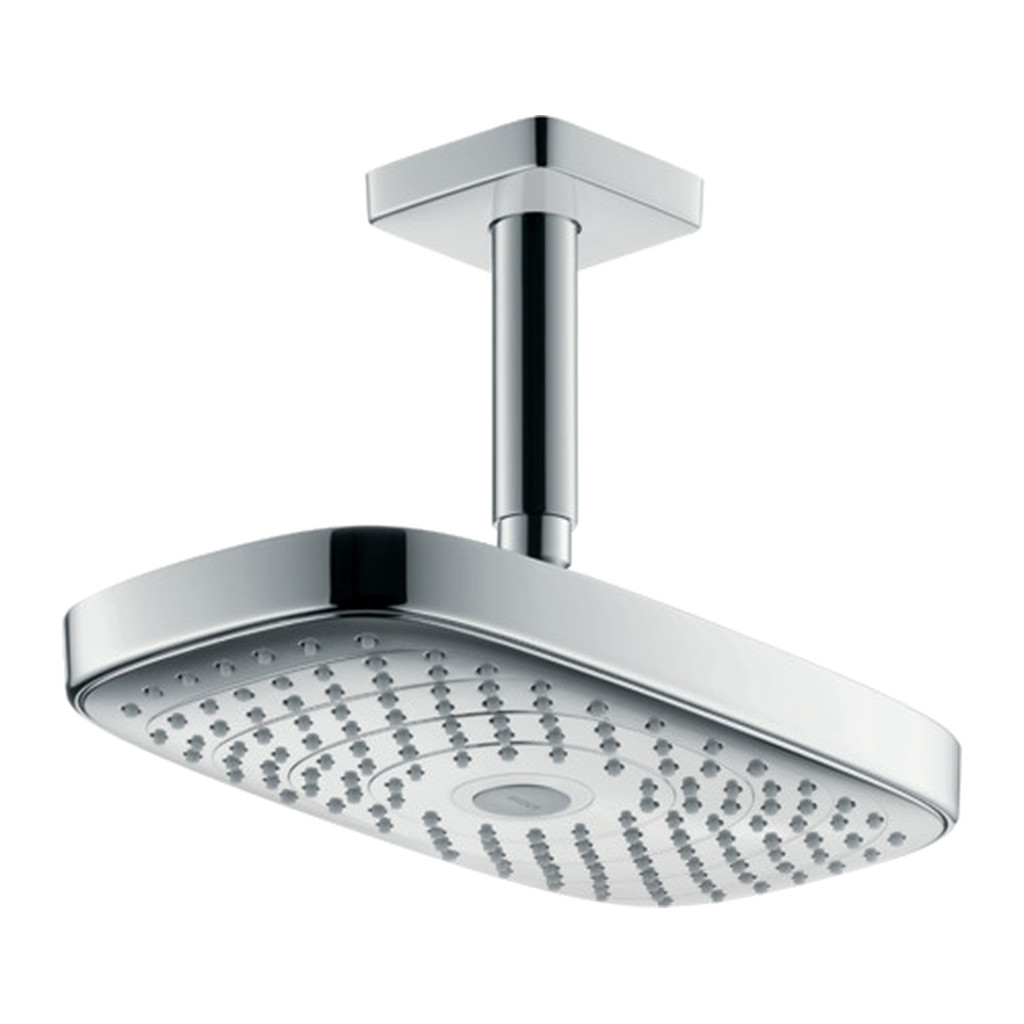 Hansgrohe Raindance Select E - Horná sprcha 300 2jet EcoSmart 9 l/min s prívodom od stropu , biela/chróm 26608400