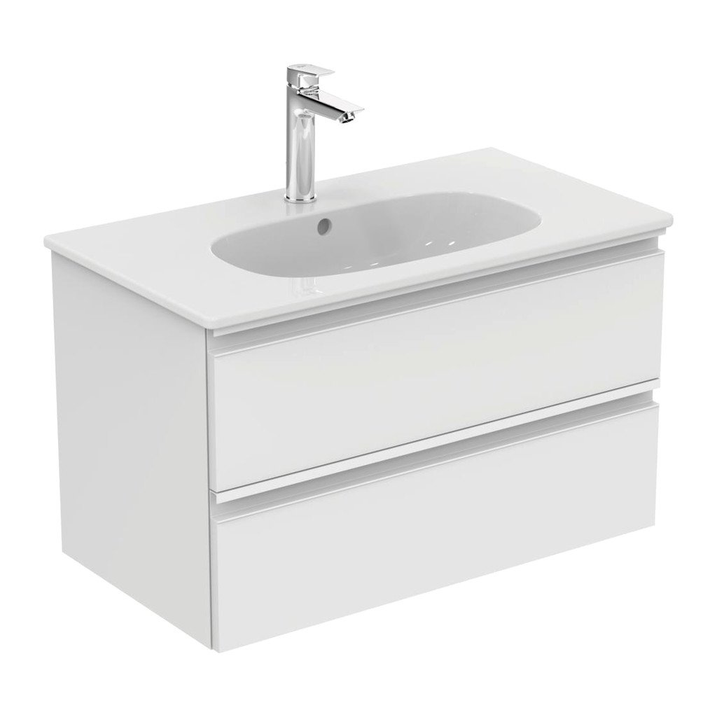 Ideal Standard Tesi - Skrinka pod umývadlo 80 cm - 2 zásuvky, Lesklý lak biely, T0051OV