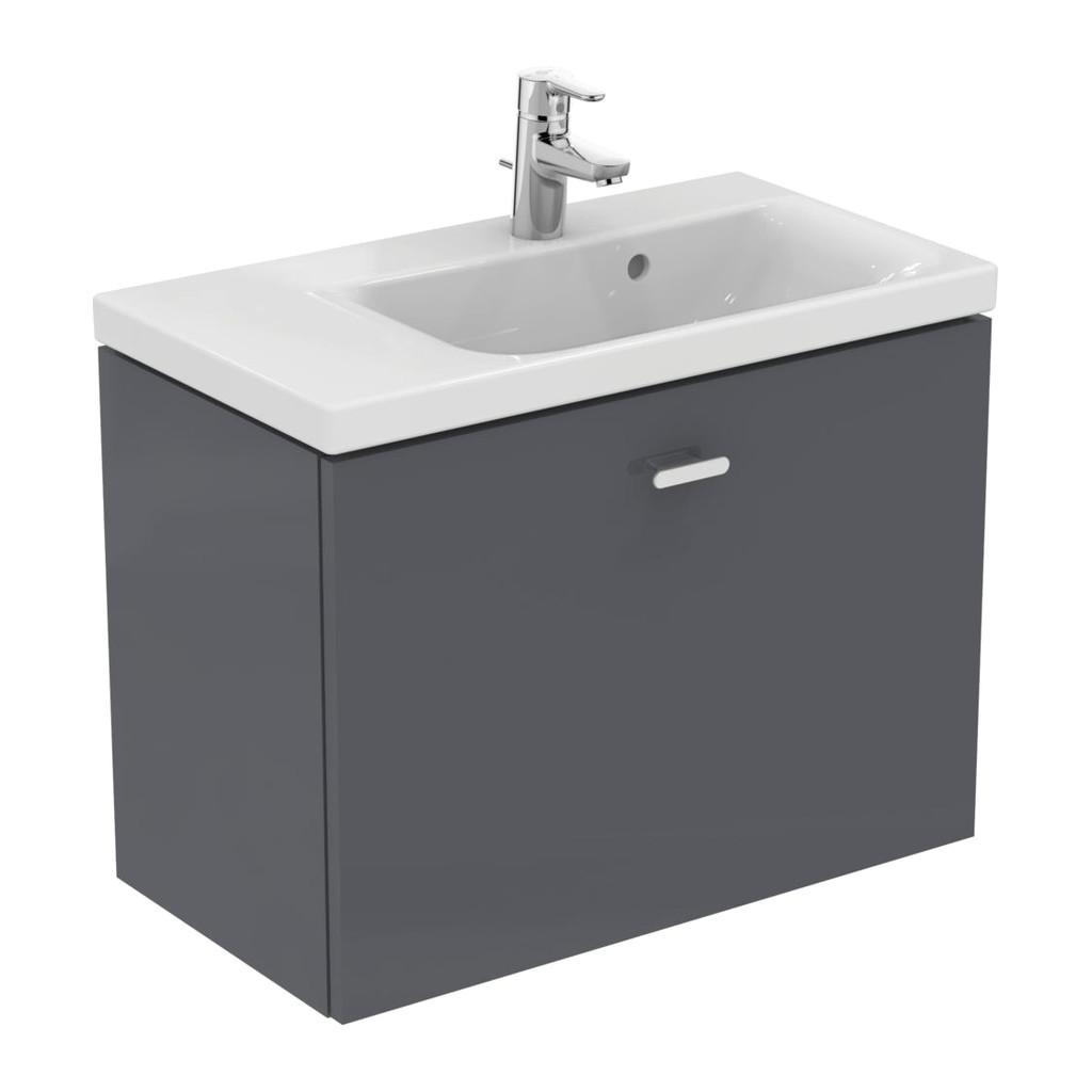 Ideal Standard Connect Space - Skrinka pod umývadlo 70 cm - ľavá, Lesklý lak stredne šedý, E0316KR