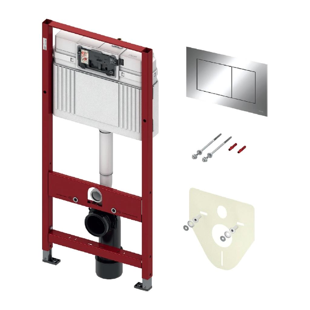 TECEprofil- SET 4v1: Inštalačný modul s nádržkou UNI pre WC, výška 1,12m + tlačidlo chróm + úchyt + zvuková izolácia, 9400012