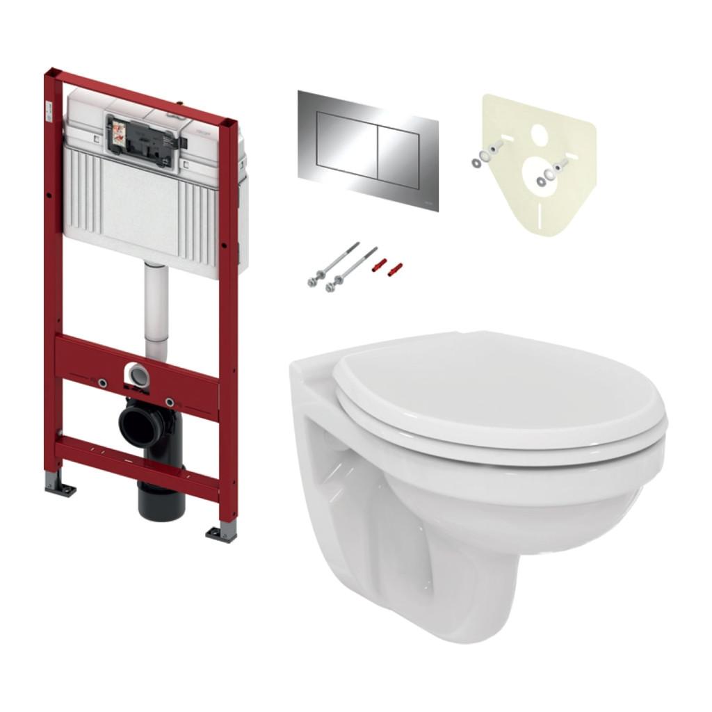 TECE set 1- Inštalačný modul s nádržkou UNI pre WC + tlačidlo chróm + úchyt + zvuková izolácia + závesné WC + WC sedátko