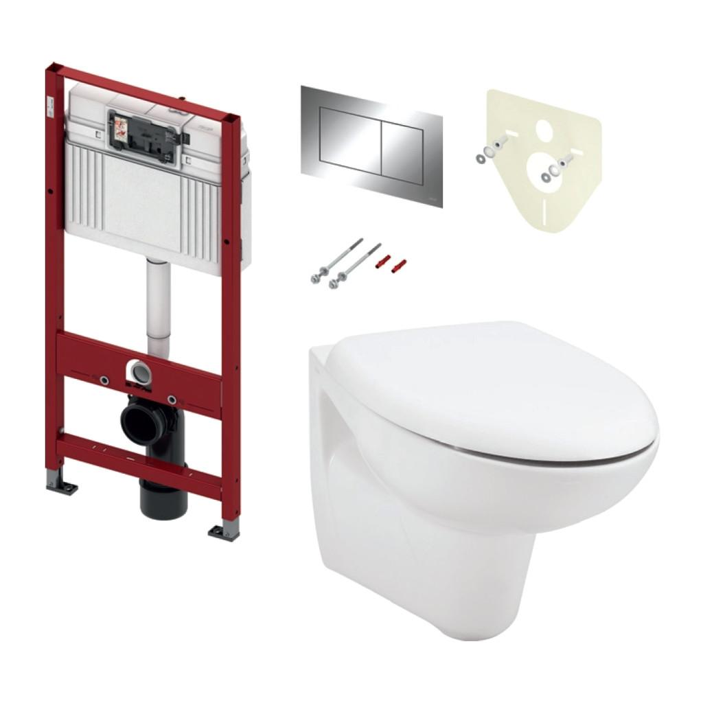 TECE set 2- Inštalačný modul s nádržkou UNI pre WC + tlačidlo chróm + úchyt + zvuková izolácia + závesné WC + WC sedátko Soft-Close