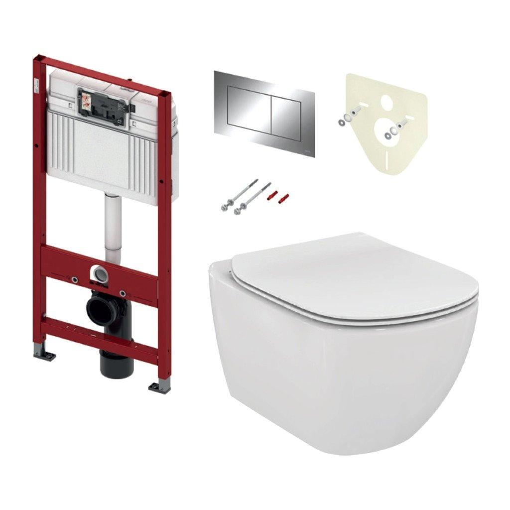 TECE set 3- Inštalačný modul s nádržkou UNI pre WC + tlačidlo chróm + úchyt + zvuková izolácia + závesné WC AQUABLADE + WC sedátko Soft-Close, ultra ploché
