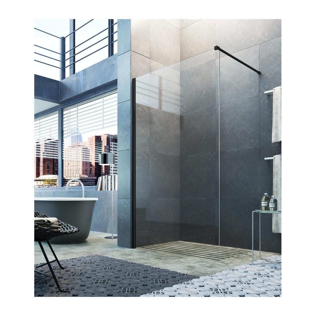 Glass 1989 Step in - pevná voľne stojaca stena pre šírku vaničky 90 cm, čierna matná