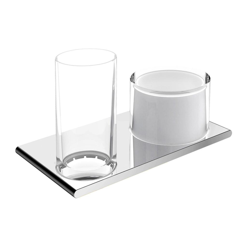 Keuco Edition 400 - Nástenný dvojitý držiak s pohárom a dávkovačom tekutého mydla 150 ml, chróm 11553019000