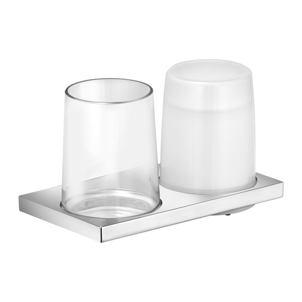 Keuco Edition 11 - Nástenný dvojitý držiak s pohárom a dávkovačom tekutého mydla, chróm 11153019000