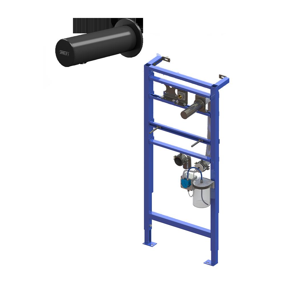 Sanela - Automatický nerezový nástenný dávkovač mydla vrátane montážneho rámu SLR 24, nádržka na mydlo 1 l, čierny, 230 V AC
