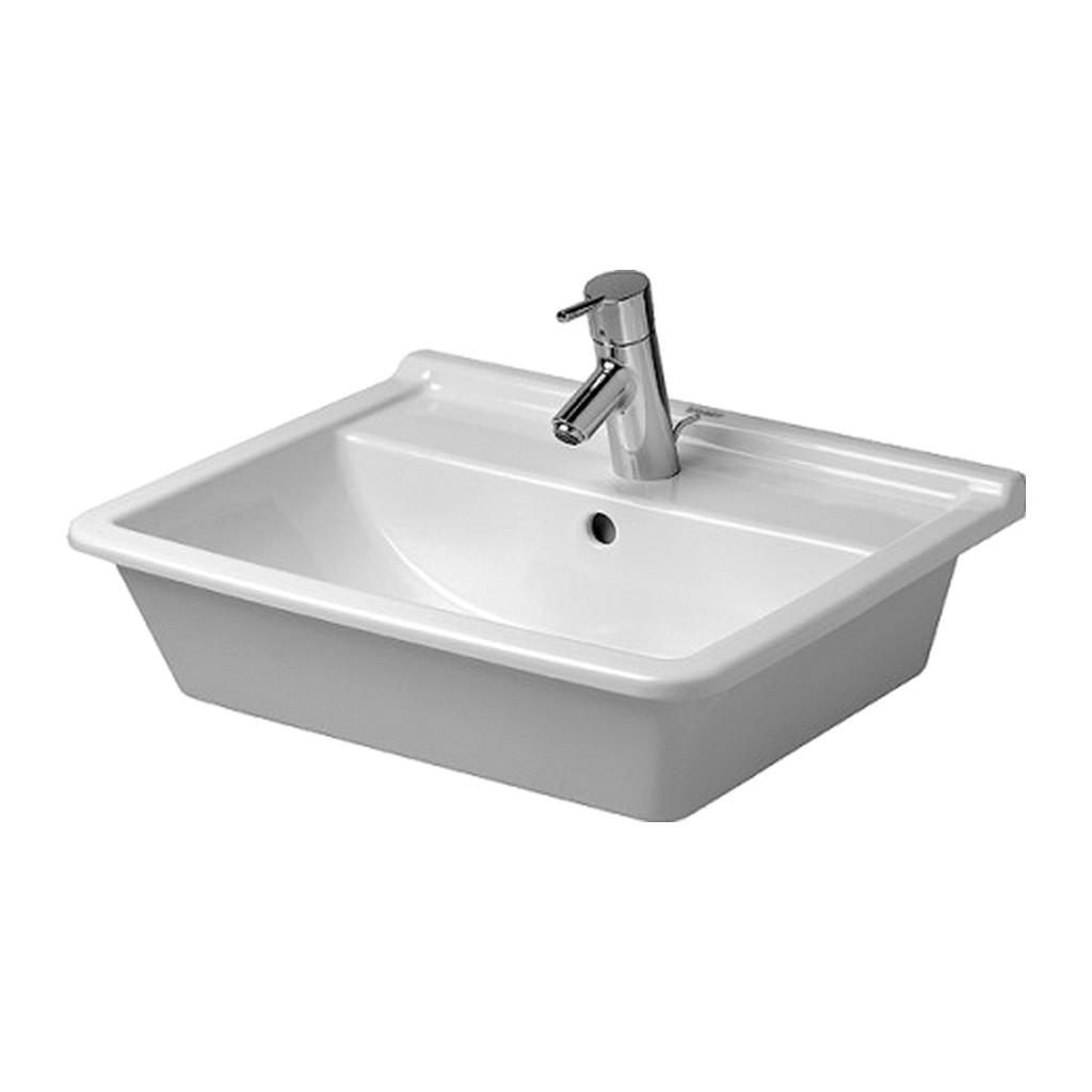 Duravit Starck 3 - Vstavané umývadlo, 1 otvor pre armatúru prepichnutý a ďalšie dva možné, 56 x 46 cm, biele 0302560000