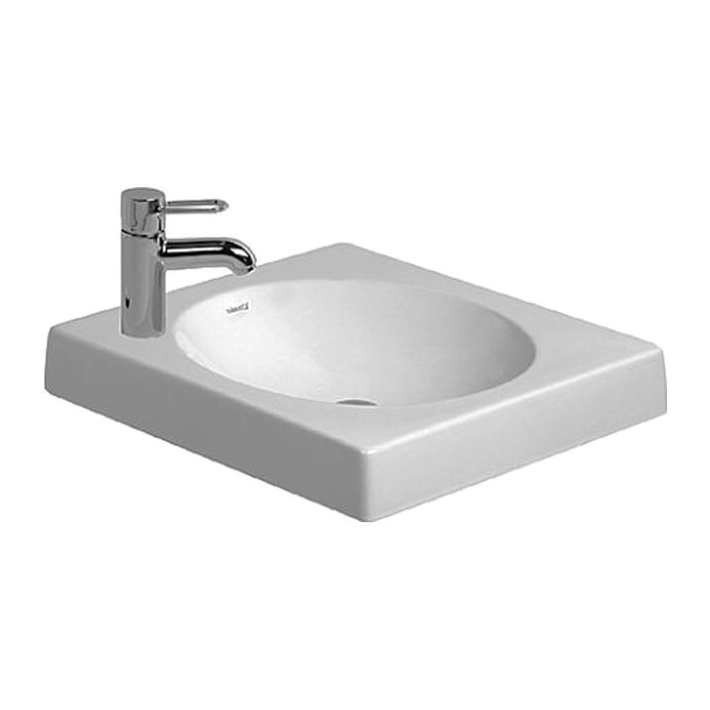 ARCHITEC Duravit Architec - Brúsená umývadlová misa s otvorom pre armatúru prepichnutým vľavo, 50x50 cm, biela 0320500009